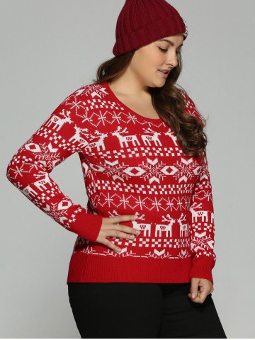Sale Plus Size Christmas Jacquard Knit Sweater - 3XL RED Mobile