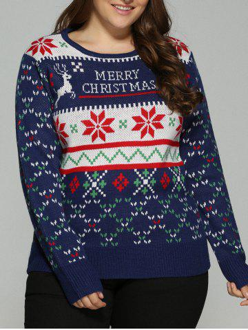 Discount Plus Size Snowflake Christmas Jacquard Knit Sweater DEEP BLUE 5XL