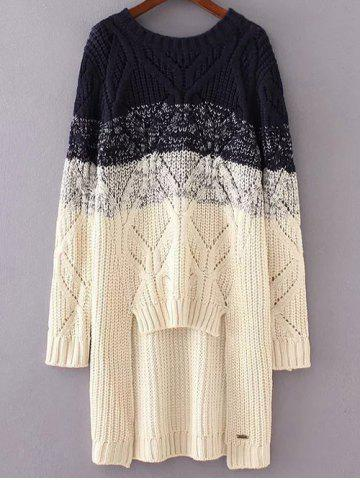 Buy Round Neck Long Sleeve High-Low Ombre Loose Sweater