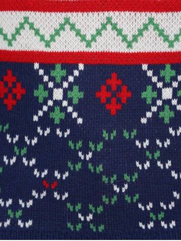 Trendy Plus Size Snowflake Christmas Jacquard Knit Sweater - 4XL DEEP BLUE Mobile
