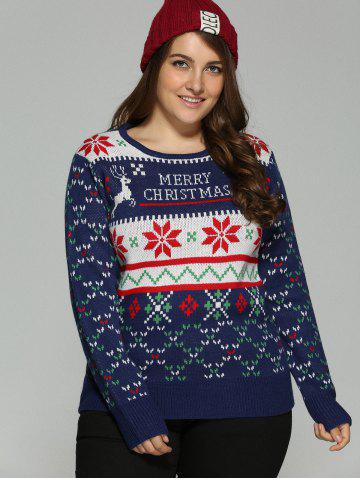 Chic Plus Size Snowflake Christmas Jacquard Knit Sweater - XL DEEP BLUE Mobile
