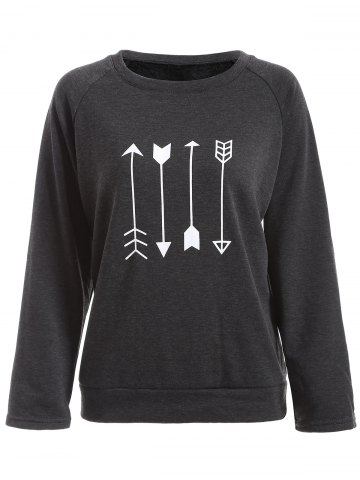 Affordable Arrow Print Flocking Sweatshirt