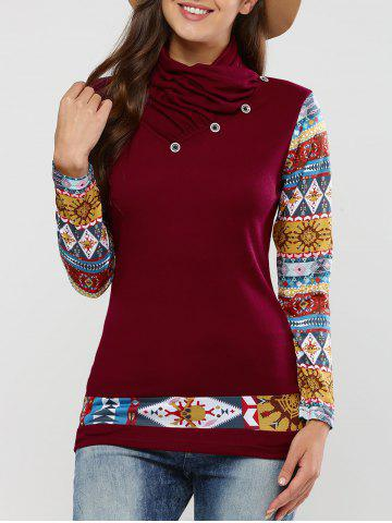 Best Long Sleeve Tribal Print T-Shirt CLARET XL