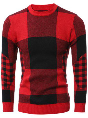 Cheap Slim-Fit Crew Neck Plaid Sweater RED 2XL