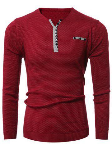 Notch Neck Zipper Embellished Popcorn Knitted Sweater - RED 3XL