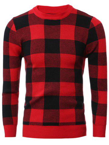 Fashion Slim-Fit Crew Neck Checkered Pullover Sweater RED 2XL