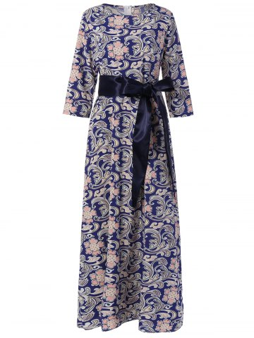 Hot Maxi 3/4 Sleeve Retro Print Belted Dress PURPLISH BLUE XL