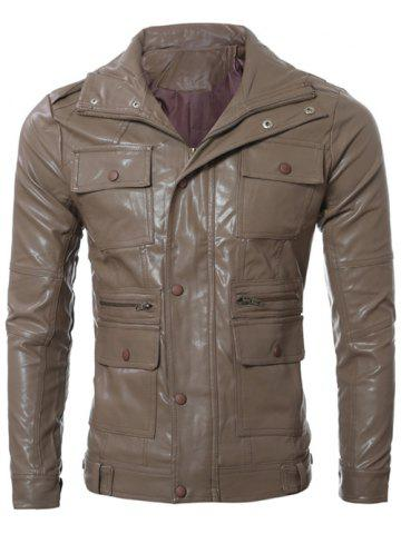 Discount Slim-Fit Multi Pocket Design PU Leather Jacket CAMEL L