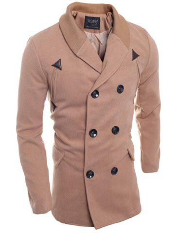 Double Breasted Knitted Collar Spliced Coat - Pinkbeige - M