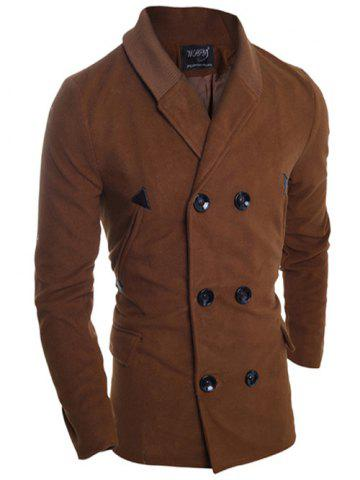 Double Breasted Knitted Collar Spliced Pea Coat
