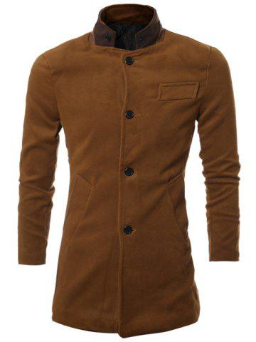 PU Stand Collar Single Breasted Wool Blend Coat - Deep Brown - M