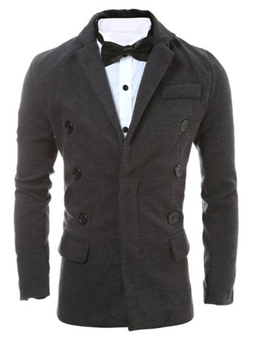 Discount Lapel Collar Zip Embellished Wool Blend Coat