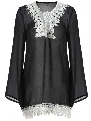 Fancy Lace-Trim Loose Fitting Dress
