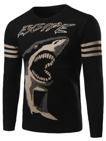 Hot Shark Pattern Striped Crew Neck Sweater