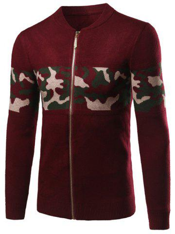 Discount Camo Pattern Rib Cuff Stand Collar Zip Up Cardigan WINE RED 2XL