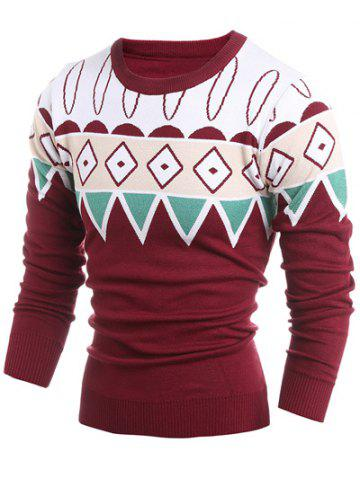 Geometric Pattern Ribbed Crew Neck Sweater - WINE RED 2XL