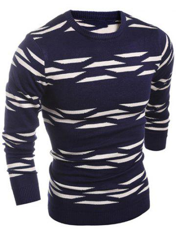 Fashion Geometric Pattern Crew Neck Flat Knitted Sweater - M CADETBLUE Mobile