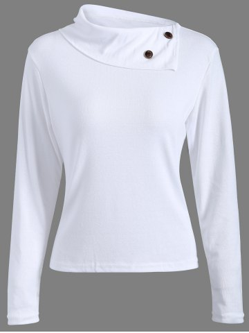 Shops Ribbed Button Embellished T-Shirt WHITE 2XL