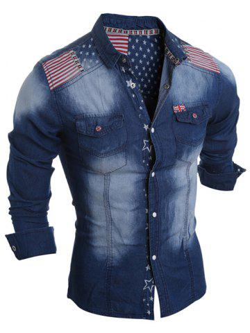Online Flag Pattern Striped Snap Button Jean Shirt DEEP BLUE 2XL