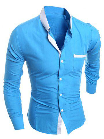 Latest Contrast Collar Breast Pocket Button-Down Shirt