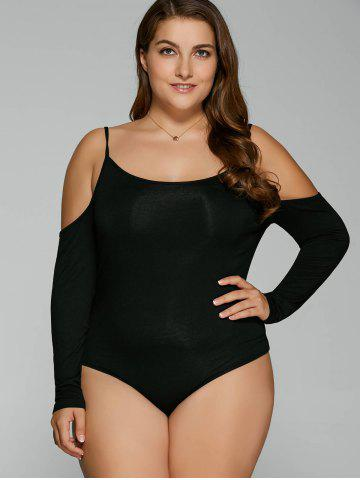 Store Plus Size Dew Shoulder Long Sleeve Bodysuit BLACK 5XL