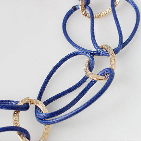 Affordable PU Leather Woven Interlace Necklace Set - DEEP BLUE  Mobile
