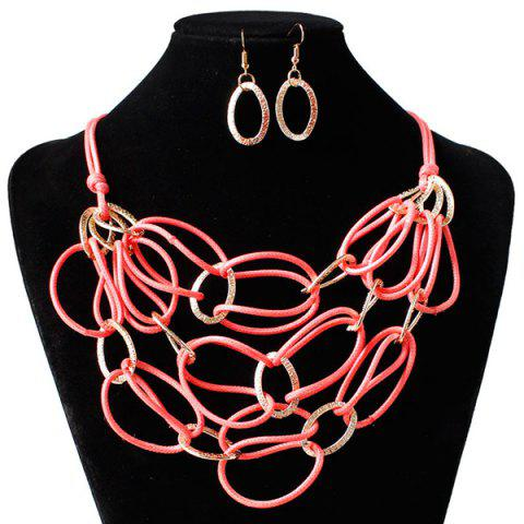 New PU Leather Woven Interlace Necklace Set - WATERMELON RED  Mobile