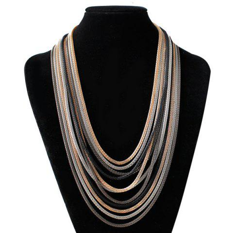 Multi Color Chain Bib Drape Chain Necklace - Gun Metal