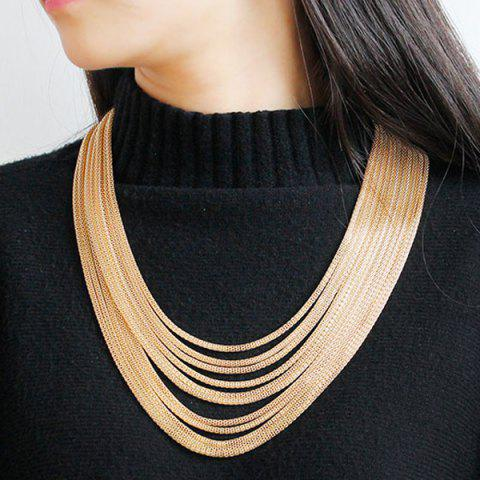 Affordable Layered Alloy Chain Necklace CHAMPAGNE