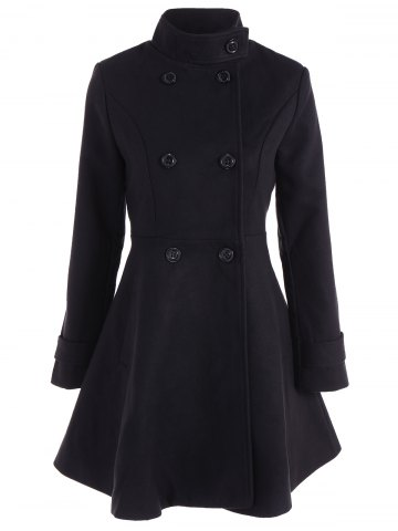 Unique Double Breasted Skirted Coat BLACK 2XL
