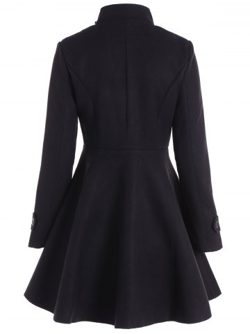 Cheap Double Breasted Skirted Coat - XL BLACK Mobile