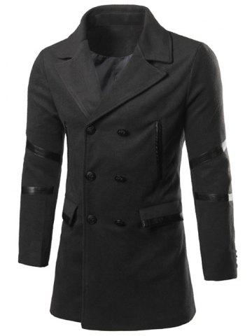 Chic Back Double-Breasted Vent Notch Lapel Faux Leather Insert Pea Coat BLACK XL