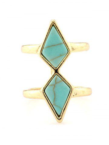 Affordable Faux Turquoise Rhombus Cage Ring