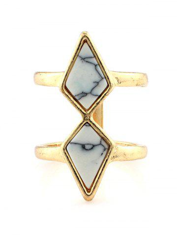 New Faux Turquoise Rhombus Cage Ring WHITE