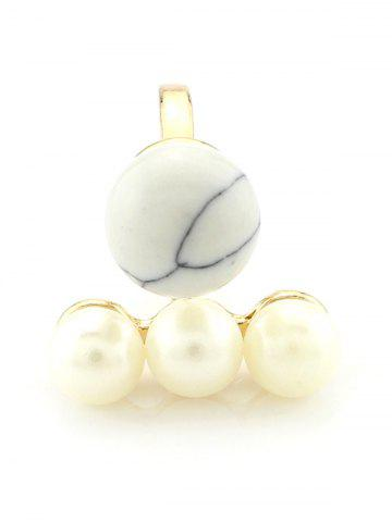 Store Faux Pearl Beaded Engagement Cuff Ring WHITE