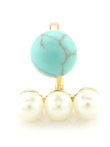 Faux Pearl Beaded Engagement Cuff Ring - Turquoise - One-size