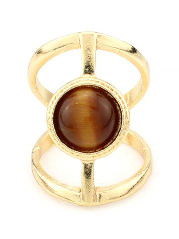 Fancy Natural Stone Hollow Cage Ring TEA COLORED