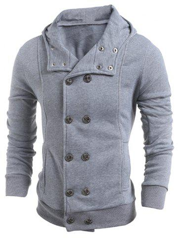 Fashion Long Sleeve Side Pocket Double Breasted Hoodie LIGHT GRAY 2XL