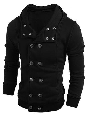 Unique Long Sleeve Side Pocket Double Breasted Hoodie BLACK L