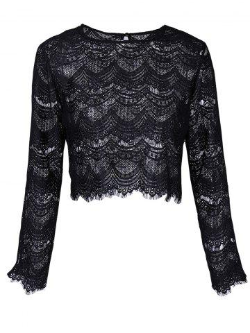 Outfits Round Neck Long Sleeve Lace Top BLACK XL