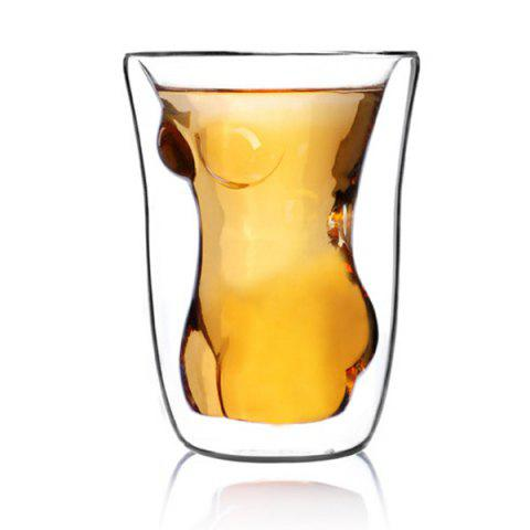 Trendy Double Layer Adiabatic Lady Glass Water Beer Mug - TRANSPARENT  Mobile