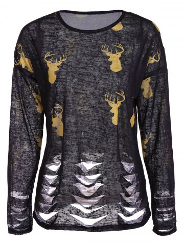 Cheap Deer Print Ripped Top BLACK 2XL