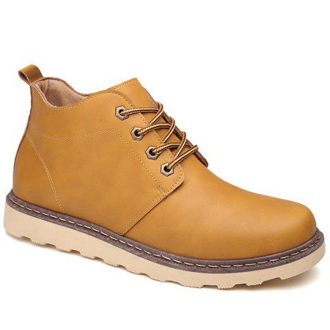 Sale Eyelet PU Leather Lace-Up Short Boots LIGHT BROWN 44