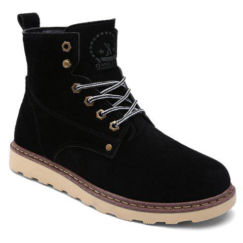 Hot Eyelet Lace-Up Suede Short Boots BLACK 43