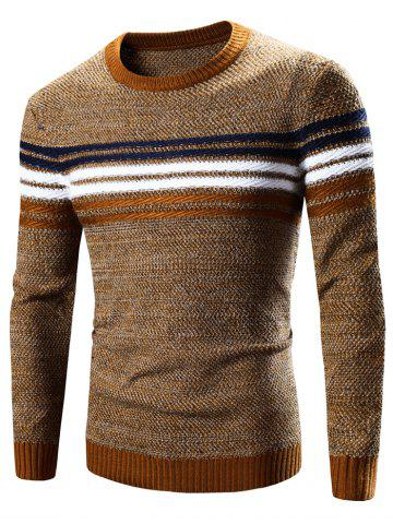 Discount Crew Neck Striped Splicing Pattern Long Sleeve Sweater EARTHY 2XL