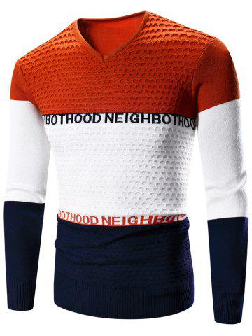 Affordable V-Neck Color Block Splicing Graphic Print Long Sleeve Sweater - XL ORANGE Mobile