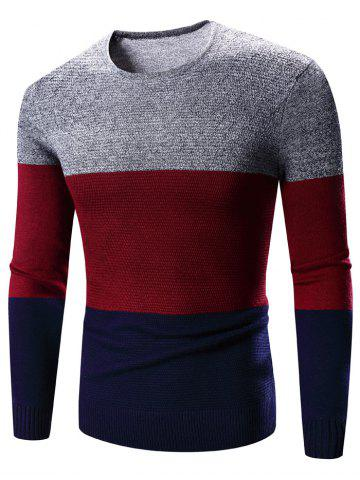 Sale Crew Neck Color Block Splicing Long Sleeve Sweater
