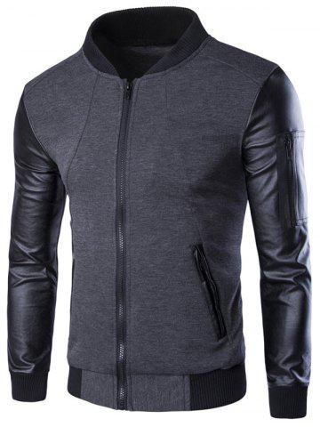 Chic PU-Leather Splicing Zip-Up Jacket GRAY 3XL