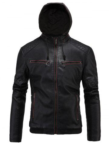 Unique Hooded Zip-Up PU-Leather Jacket