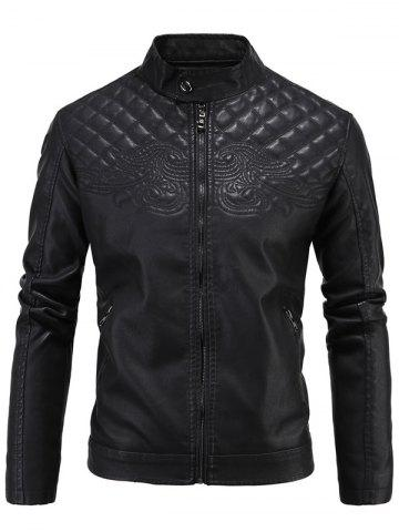 Sale Embroidered Thicken PU-Leather Fleece Zip-Up Jacket BLACK 4XL